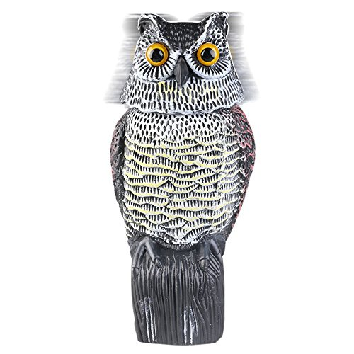 Owl Decoy with Rotating Head,Natural Enemy Scarecrow Deterrent Pest Crow Bird Control Repellents by DOGS ()