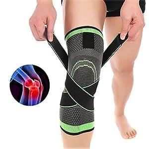 Delaman Rodilleras, 3D Weaving Sport Presurización Rodillera Soporte Foot Care Guard Brace Lesión Presión Protector Knee Sleeve M(35-40CM)