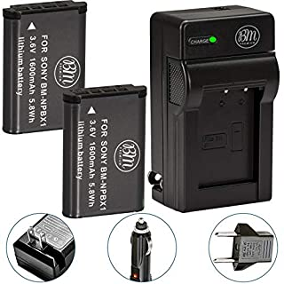 BM Premium 2 NP-BX1 Batteries and Charger for Sony CyberShot DSC-RX100, RX100 II, RX100 III, RX100 IV, RX100 V, RX100 VI, RX100 VII, DSC-RX1R, RX1R II, HX50V, HX60V, HX80V, HX90V, WX300, WX350 Cameras (B008O6R5ZK) | Amazon price tracker / tracking, Amazon price history charts, Amazon price watches, Amazon price drop alerts