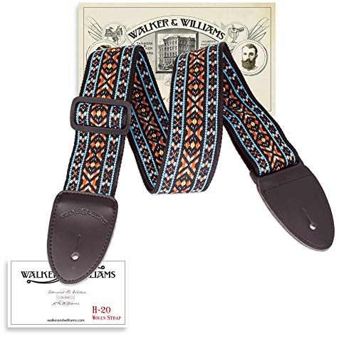 Walker & Williams Vintage Series H-20 Woven Guitar Strap Blue, Orange, Black, Gold
