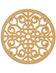 MS Koins Stainless Steel Coin Filigree Design Yellow Gold Plated Fits Our Coin Locket System, 30mm Diameter
