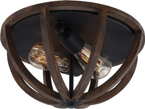Feiss FM400WOW/AF Allier Flush Mount Ceiling Lighting, Brown, 2-Light (13