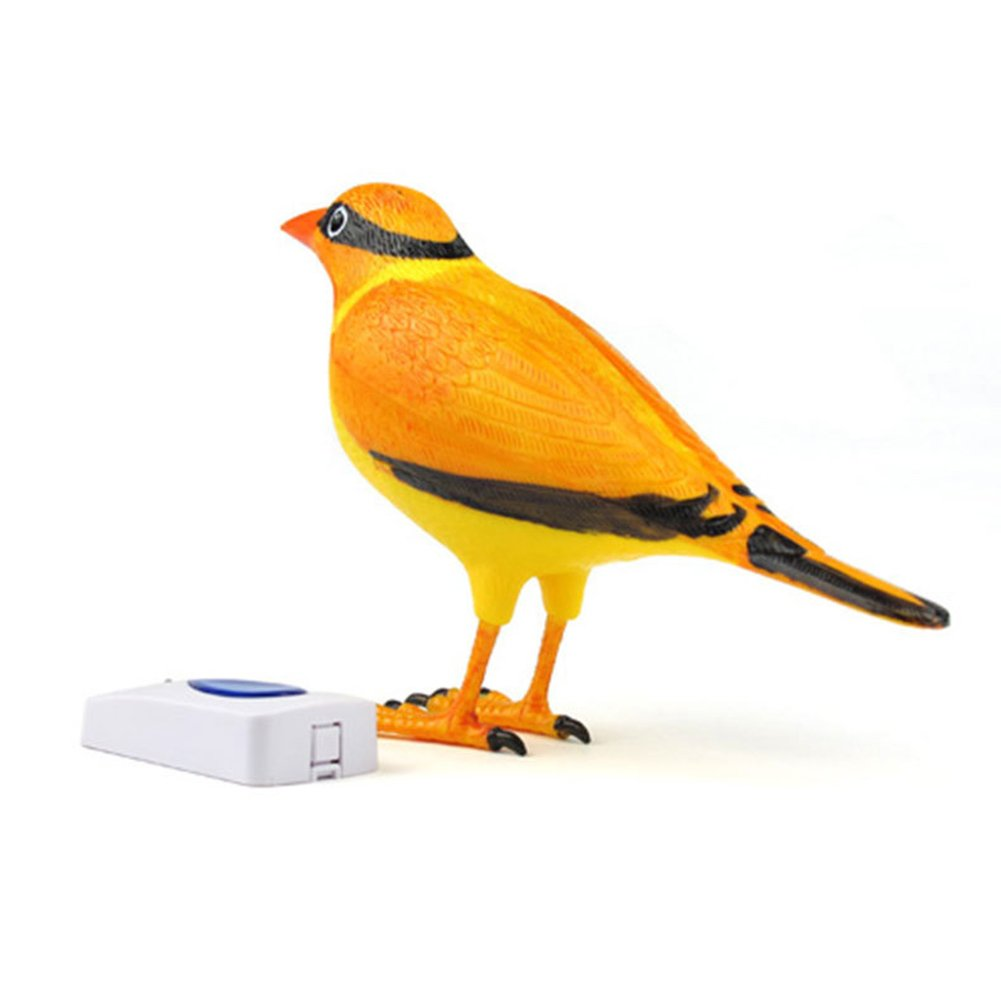 Home Wireless Bird Remote Control Chime Digital Doorbell Alarm Batteries Powered (Orange)