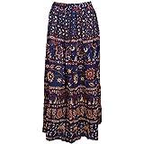 Mogul Interior Women Peasant Skirt Elephant Printed Dark Blue Flared Maxi Skirts S/M