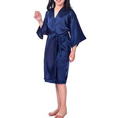 YOLIA Kids Nightgowns Solid Colours Stain Silk Kimono Robes Sleepwear  Nighties  Amazon.co.uk  Clothing 1d9278f1d