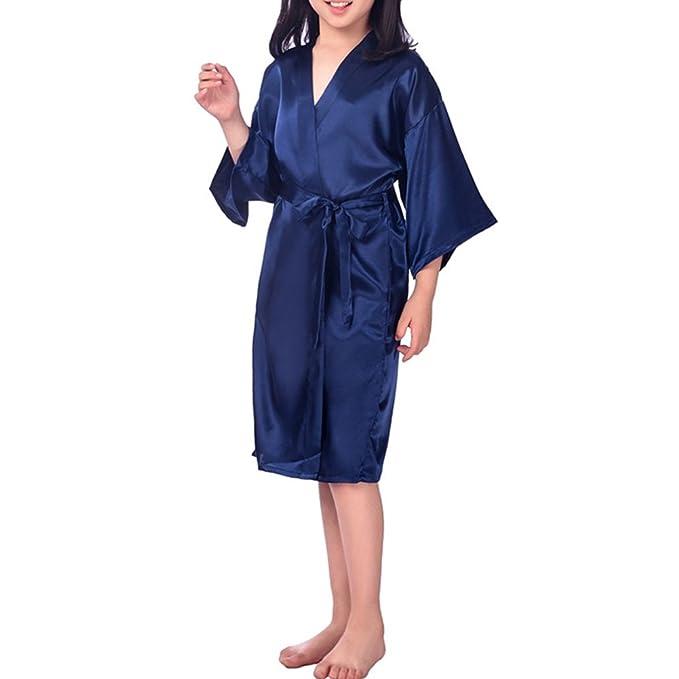 YOLIA Niños Camisones Colores Sólidos Mancha Kimono de Seda Batas Pijamas Camisones: Amazon.es: Ropa y accesorios