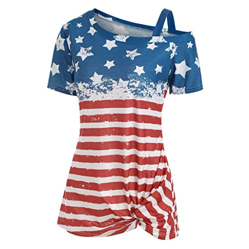 Puyujin Women Stripe America Flag Printed V-Neck Short SLeeve Knot T-shirt Blouse