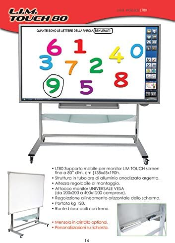 LT80 carro Puerta Pizarra Interactiva Touch Screen con televisores Max. 80