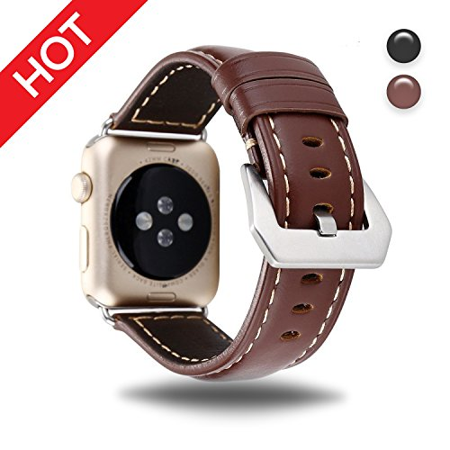 For Apple Watch Band Brown 42MM Genuine Leather Strap Wristband for Replacement iWatch Strap with Comfortable Durable Stainless Metal Clasp Classic Buckle Wrist Watch - Band Ray Is What A