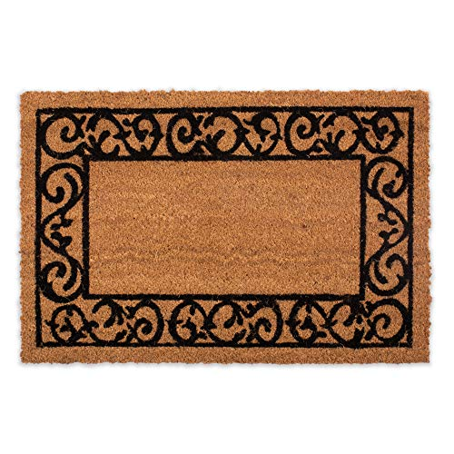 - DII 10247 Indoor/Outdoor Natural Coco Coir Non Slip Backing Entry Way Doormat for Patio, Front, Weather Exterior Doors, 24x36, Printed Scroll