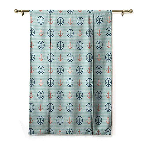 - HCCJLCKS Half Blackout Curtains Anchor Summer Holiday Adventure Horizontal Striped Backdrop with Icons Bon Voyage Durable Seafoam Blue Coral W36 xL72
