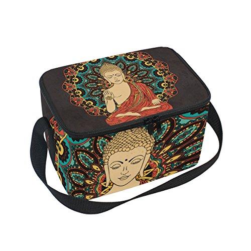 - Buddah Buddhism Buddhist Zen Art Insulated Lunch Bag Box Cooler Bag Reusable Tote Bag Outdoor Travel Picnic Bags