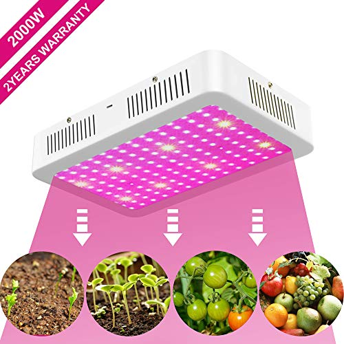 XECCON 2000W LED Grow Light Full Spectrum with UV&IR Grow Lamp for Indoor Plants Greenhouse Hydroponic Seedling Veg Flower(192 LEDs)