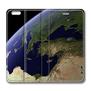 iPhone 6 4.7inch Leather Case - View Earth From Space Fashion Luxury Protective Slim Fit Skin Leather Cover For Iphone 6 [Stand Feature] [Slim - fit] Flip Leather Case Cover for New iPhone 6
