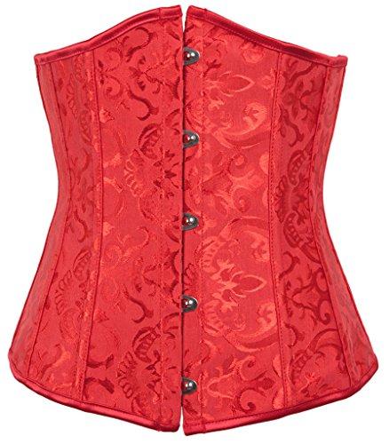 Alivila.Y Fashion Womens Brocade Underbust Boned Corset Waist Trainer 2686-Red-XL