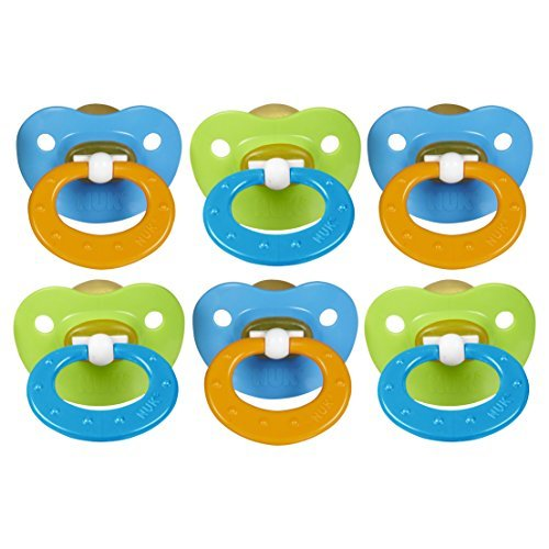 NUK Juicy Orthodontic Latex Pacifier, Size 3, 6 Pack - Blue/Green