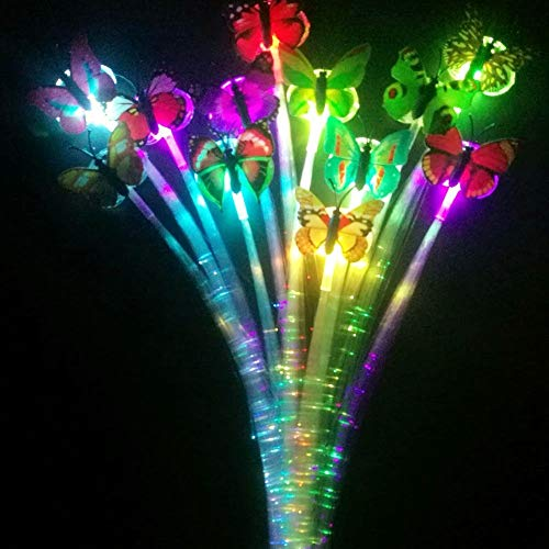 HongFu 12 Pack Alternating Multicolor LED Light-Up Flashing Fiber Optic Hair Clip Hairpin Braid Barrettes Lights for Glow Party Favors Supplies