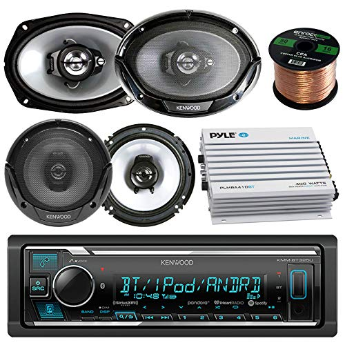 Kenwood Bluetooth AM/FM Radio Car MP3 Receiver Player Bundle with 2 Speakers 6x9 Inch, 2 Speakers 6.5 Inch, 400 Watt Amplifier, 50 ft Speaker Wire ()