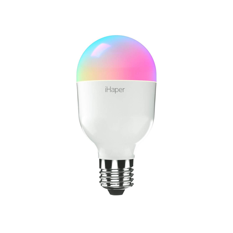 Bombilla Inteligente Led E27, iHaper Wifi Lámpara 7W, Blanco y 16 millones de Colores