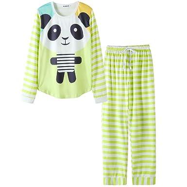 72723ac2045 VENTELAN Women Long Sleeve Panda Print Round Neck Pajamas Set Striped  Sleepwear A-Green Panda