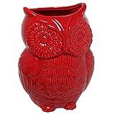 MyGift Red Owl Design Ceramic Cooking Utensil Holder/Multipurpose Kitchen Storage Crock