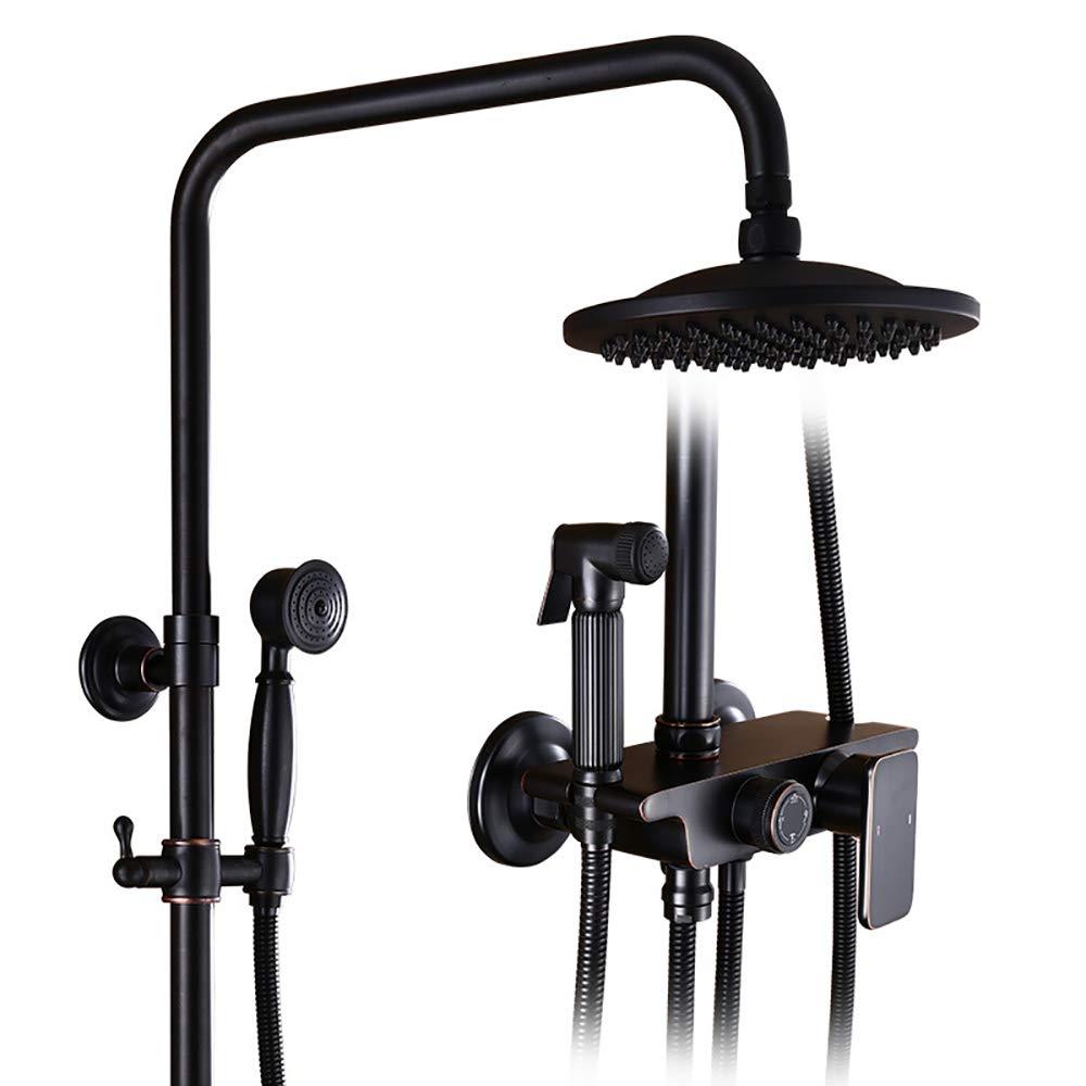 YYF-SHOWER ヨーロッパのレトロシャワーセット、 銅材料、 壁掛け式 バスルーム 冷/温水タップ、 パンチの取り付け (色 : 黒) B07L3T55PR 黒