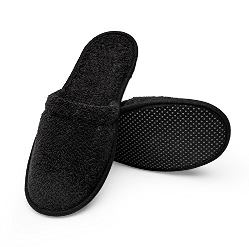 (Arus Women's Organic Turkish Terry Cotton Memory Foam Spa Slippers Black S/M)