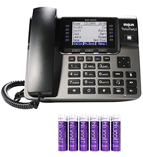 RCA U1000 Unison 4-Line Expandable Phone System - Full-Duplex Speakerphone with Built-in Digital Answering Machine and Intercom Bundle with 6 Blucoil AAA ()