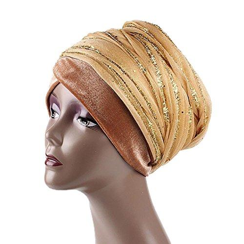 - General3 Women India Africa Muslim Stretch Turban Hat Gauze Hair Head Scarf Wrap Cap (Gold)