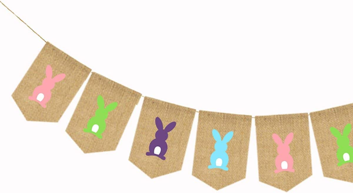 Bunting Banner Easter Bunny Rabbit Hanging Garland Party Decor Decoration