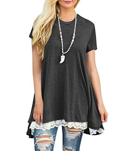 Kool Classic Women's Short Sleeve A-Line Lace Stitching Trim Casual Dress Dark Grey Medium Lace Trim Scrub Top