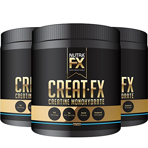 NutraFX Micronized Creatine Monohydrate Powder All Natural Pre Workout Energy Boost and Muscle Building Supplements (300g - 60 Servings) (3-Pack)