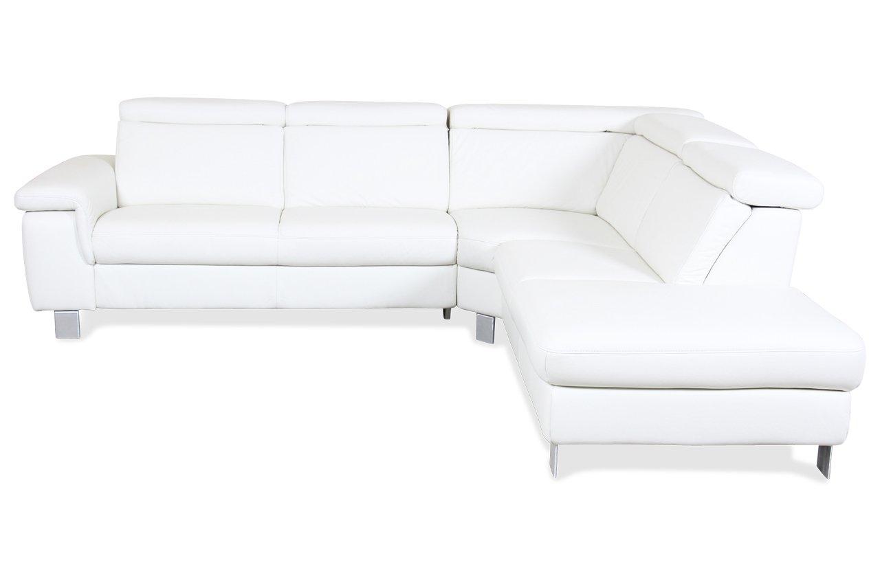 Sofa Polsteria Rundecke 2er-Ecke-2er Lava - Echt-Leder Creme