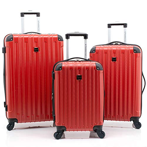 Travelers Club Luggage Madison 3 Piece Hardside Spinner Carry-On with (Piece Club 3 Travelers)