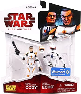 """Hasbro Year 2009 Star Wars """"The Clone Wars"""" Animated Series 2 Pack 4 Inch Tall Action Figure - Clone Commander CODY with Removable Helmet and Blaster Pistol Plus Cone Trooper ECHO with Removable Helmet and Blaster Pistol"""