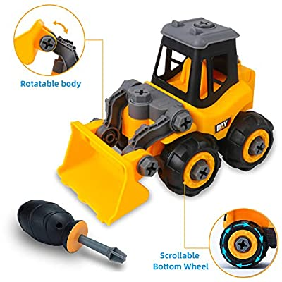 Take Apart Toys DIY Construction Vehicles Assembly Toys Bulldozer Toys with Screwdriver Simulation Bulldozer Toys Educational Toys for Kids Boys and Girls: Toys & Games