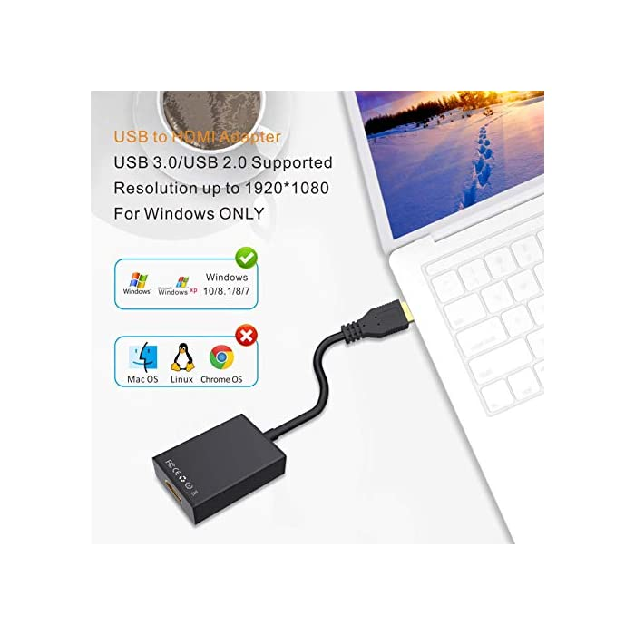 51prh9QEQpL Haz clic aquí para comprobar si este producto es compatible con tu modelo 【Adaptador USB a HDMI】: Este adaptador USB HDMI puede conectar una PC o computadora portátil a través de la interfaz USB a un HDTV, monitor o proyector con interfaz HDMI. Admite sincronización de audio y video, compatible con Windows XP, Windows 7, Windows 8 / 8.1, Windows 10. 【1080P compatible con USB 3.0】El puerto USB 3.0 está equipado con un chip avanzado que permite una transmisión de señal estable. Resolución de video de hasta 1080P y admite pantalla 3D, puede admitir visualización a 1920x1080P @ 60Hz en la pantalla cuando se conecta a USB 3.0. La velocidad de transmisión de USB 3.0 es de hasta 5 Gbps.