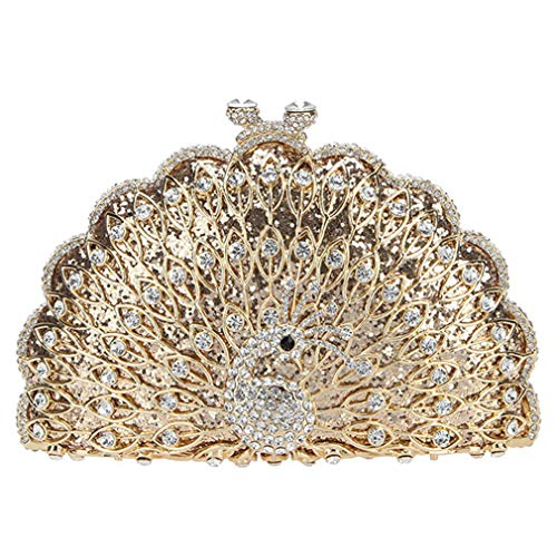 Evening Peacock Bags For Cute And Clutch Animal Glitter Gold Clutches Bag Purses Women dCC1Zq