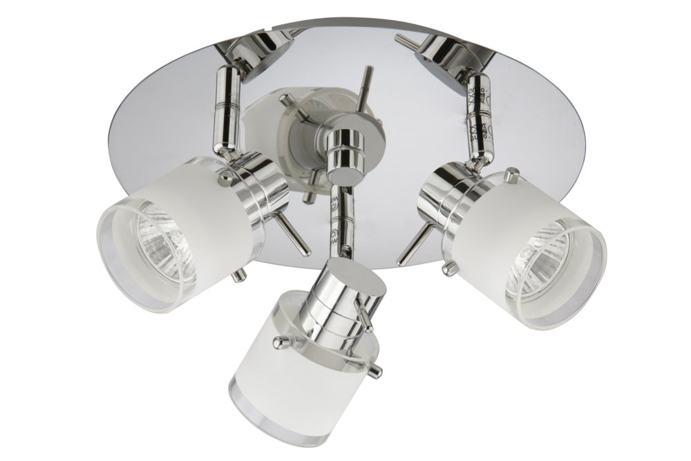 Trango 3-flame IP44 bathroom lamp, ceiling lamp in chrome TG1006-38R incl. 3x GU10  LED bulb spotlight, can be rotated and swivelled ceiling lamp in chrome TG1006-38R incl. 3x GU10 LED bulb spotlight