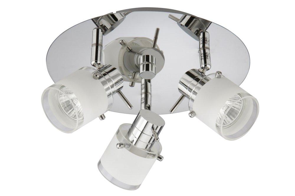 Trango 3-flammige IP44 Badleuchte Badlampe Deckenleuchte in Chrom TG1006-38R inkl. 3x GU10 LED Leuchtmittel Strahler schwenk- und drehbar Bad