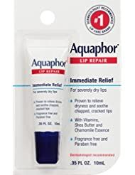 Aquaphor Lip Repair Ointment - Long-lasting Moisture to Soothe Dry Chapped Lips - .35 fl. oz Tube