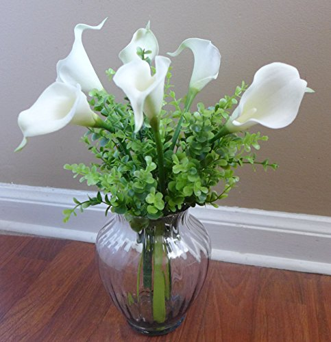 Calla Lily Garden Glass - Artificial Calla Lily Grass Bush Plastic Plants Home Garden Decoration(set of 8)