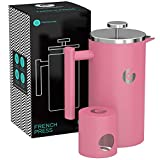Cheap Large French Press Coffee Maker – Vacuum Insulated Stainless Steel – Pink, 34 ounce