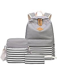 Causal Canvas Stripe Backpack Cute Teen Backpacks For Girls School Bag