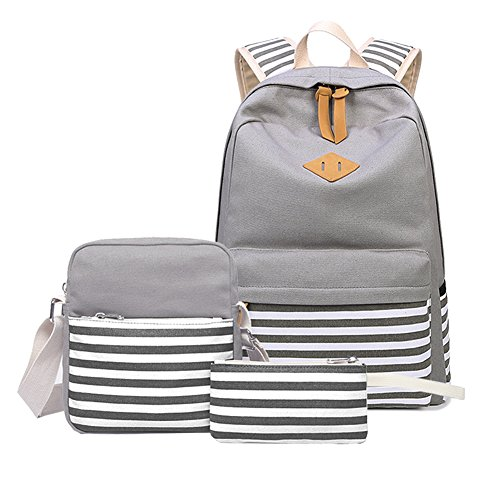 Abshoo Causal Canvas Stripe Backpack Cute Lightweight Teen Backpacks For Girls School Bag Set (Grey Set)