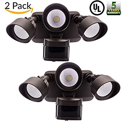 Sunco Lighting - 2 PACK UL Listed Outdoor LED Security Three Headed Floodlightwith Motion Sensor, Waterproof, 5000K, 2700 Lumens, Bright - Bronze