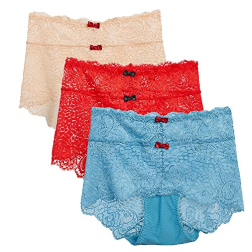 Light Blue Stretch Lace Panty - Missonchoo Women's Lace High Waist Briefs Plus Size Tummy Control Stretch Underwear Pants Seamless Panties Bowknot Trim Pack of 3-Apricot+Red+Light Blue