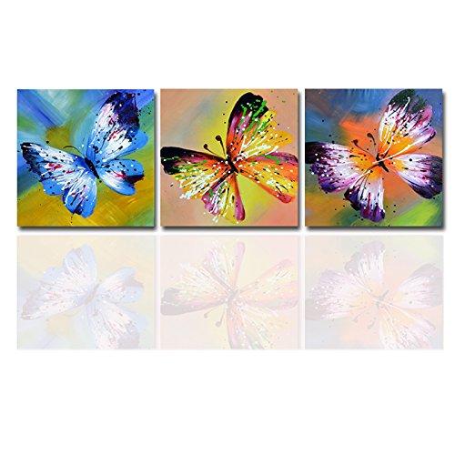 モダンアート壁の装飾キャンバスプリント絵画カラフルな抽象バタフライ動物画像の寝室3ピースAセット 20inchx20inchx3 20inchx20inchx3  B06XFZLF7G