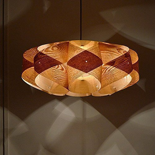 Handmade Wood Orbit Hanging 2-Light Pendant light! Handmade wood pendant lamp,Chinese ash wood veneer, dining lamp,bedroom,design lamp, ceiling lamp, hanging lamp ()