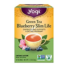 YOGI TEAS Blueberry Slim Life Green Tea, 16 Tea Bags (Pack of 6)